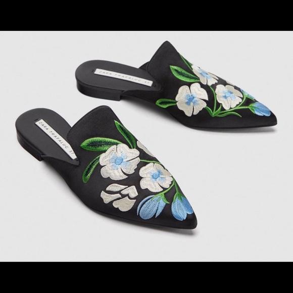 Zara Shoes - Zara Floral Mules Size 42